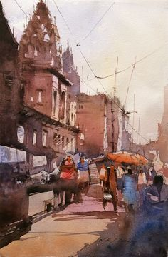 Watercolor painting of Varanasi ghats by Indian artist, Nitin Singh Famous Watercolor Artists, Watercolor Paintings For Sale, Indian Art Paintings, Watercolor Artwork, Watercolor Landscape, Watercolor Illustration, Artwork Paintings, City Illustration, Landscape Paintings