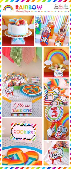 rainbow party DIY printables by http://www.etsy.com/shop/venspaperie