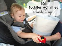 101 Toddler Activities - Road Trip ideas, games, and hands on activities for kids - parents, keep your child busy and happy in the car on long trips. Perfect for travel with toddler or preschool aged kids.