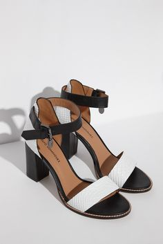 Monochrome Heeled Leather Sandals - Woman | Adolfo Dominguez shop online