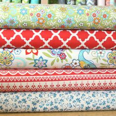 Red Blue and Yellow Floral Bird Geometric Fabric, Serenata By Samantha Walker For Riley Blake,