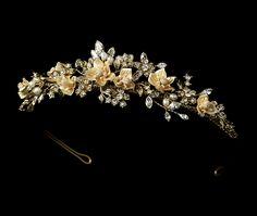 Stunning Gold Plated Porcelain Flower Bridal Tiara - Affordable Elegance Bridal -