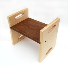 Kids Step Stool, Modern Personalized Maple And Walnut Woods