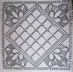 Motifs Granny Square, Granny Square Crochet Pattern, Crochet Blocks, Crochet Diagram, Crochet Chart, Crochet Squares, Thread Crochet, Filet Crochet, Crochet Tablecloth