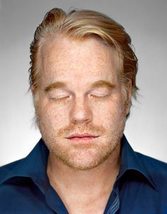 With his trademark being lighting the eyes, fitting this legend closes them for his portrait series with Martin Schoeller. Your character will be missed Mr Phillip Seymour Hoffman