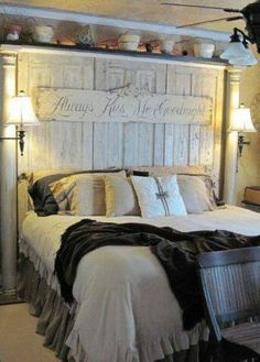 Love the headboard, the quote is. headboard made using old salvaged doors and porch columns Home Bedroom, Bedroom Decor, Bedroom Rustic, Queen Bedroom, Bedroom Vintage, Bedroom Colors, Design Bedroom, Country Bedroom Design, Primitive Bedroom
