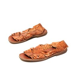 mens size 10 HUARACHE brown leather 80s ETHNIC woven sandals