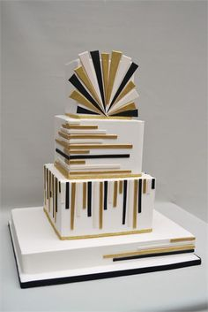 Modern Wedding Cakes Tiers hand finished in Royal icing, adorned with a raised air brushed art deco design. Cakes For Men, Just Cakes, Bolo Fashionista, 1920s Cake, Great Gatsby Cake, Art Deco Cake, Geometric Cake, Square Cakes, Cupcake Art