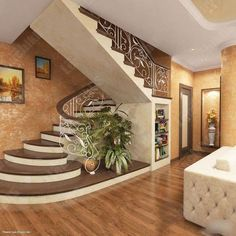 Pin For Trend Presented Best Hallway Interior Staircase Ideas That You Must Love - House Design & Mortgage Ideas 2019 (Mortgage Tips & Insurance Ideas) Home Stairs Design, Stair Railing Design, Interior Staircase, Stairs Architecture, Home Room Design, Home Interior Design, Architecture Design, Staircase Ideas, Modern Interior