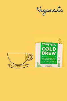 Whether you're enjoying this cold brew on a hot, summer day, or simply trying to add flavor to your water bottle, TEAPIGS Cucumber Apple Cold Brew Tea is perfect for you.  Bew itr like tea. Caffeine free, Gluten-free.  Eco friendly packaging. Find them in the Vegancuts July Snack Box.