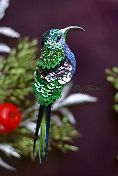 Купить миниатюрная брошь - сизый колибри - колибри, птица, птичка, пташка, миниатюра, маленькая брошь