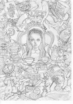 """Pencil sketching by Japanese illustrator Ꭲ Ꭺ Ꮶ Ꮜ Ꮇ Ꮠ ™ Art Nouveau style Alice from """"Alice in Wonderland"""". Dark Alice In Wonderland, Alice In Wonderland Drawings, Alice In Wonderland Characters, Witch Coloring Pages, Disney Coloring Pages, Fantasy Tattoos, Art Nouveau Illustration, Wonderland Tattoo, Neue Tattoos"""