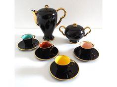 Service à café ancien MAGDA noir et doré - Service à thé rétro années 50 - Cafetière, théière, tasses et pot à sucre vintage