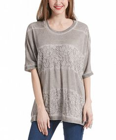 Look what I found on #zulily! Gray Lace-Stripe Half-Sleeve Tunic #zulilyfinds
