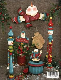 holly jolly junction by gail mosher - Pame Cáceres - Picasa Albums Web Beaded Christmas Ornaments, Christmas Wood, Primitive Christmas, Christmas Snowman, Winter Christmas, Christmas Themes, Christmas Crafts, Decorative Painting Projects, Tole Painting Patterns