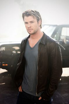 Is that smoke in the background? Did you literally set the area around you ON FIRE with your hotness, Chris Hemsworth?