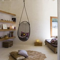indoor hammock chair design. for baby's room instead of a ricking chair. We're going to have to get a very structually sound house, I'm going to be hanging everything! Swings, hammocks, and chairs!