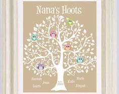 grandma gift family tree 8x10 custom print personalized gift for