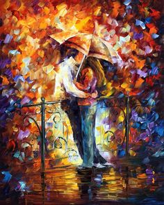 """""""Kiss on the bridge"""" by Leonid Afremov ___________________________ Click on the image to buy this painting ___________________________ #art #painting #afremov #wallart #walldecor #fineart #beautiful #homedecor #design"""