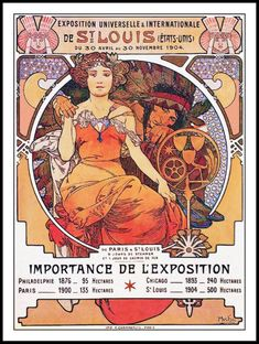 Alphonse Mucha World's Fair St Louis Missouri 1904 Poster by colorfuldesigns Alphonse Mucha, St Louis, Art Nouveau, Art Deco, Paris 1900, World's Fair, Expositions, Sale Poster, Custom Posters