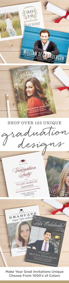 Make finding the perfect graduation invitation or announcement easy with over 100 completely customizable designs from Basic Invite.  Add your school colors and see every change you make with real-time previews.