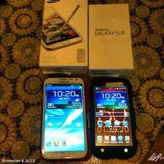 カミさんのお誕生日に…  #birthday #present for my wife #samsung #galaxynote2 自分は#galaxys3 bye bye #iphone3gs #korean #smartphone #スマホ #philippines #フィリピン