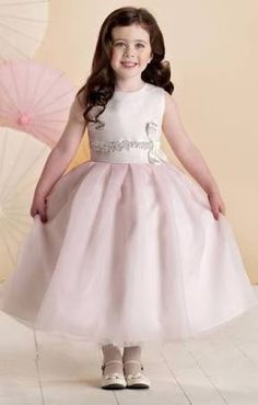 Pink puffy cute flower girl dresses crew neck zipper beads ruched tea length organza custom made sleeveless wedding party wear girl dresses