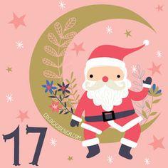 Christmas advent 17 © Gina Maldonado 2015 cocogigidesign.com #Christmas #santa #moon