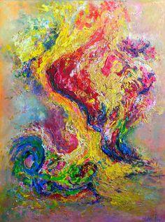 """Dancing dragons"" by Artem Bryl, Contemporary abstract art. An infusion of vibrant colours.  Mixed media: oil, acrylic on canvas.  91.5 x 122 cm. #art #modernart #contemporaryart# #wallart"