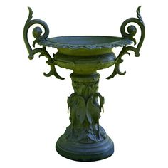 United States circa 1874-1892  A cast-iron urn in the Shield and Leaf pattern on crane pedestal, manufactured by J. W. Fiske Iron Works, New York,