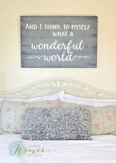 """What a wonderful world"" Wood Sign {customizable} - Aimee Weaver Designs"