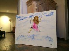 Aquarell und Edding - inspiriert von einem anderen Pinner habe ich dieses Bild gemalt. Es wir in einer Höhe von etwa 3,5 Meter in unserem Flur / Treppenhaus aufgehängt.