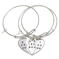 ISHOW 3 Parts Broken Heart Best Friends Forever Bff Gift Adjustble Bangle Bracelet >>> Details can be found by clicking on the image.