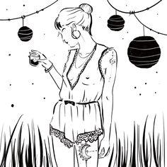 #black #drawing #line #illustration #woman #hair #digitalart #feel #eyes #art #blackandwhite #lampion #summer #gardenparty #jumpsuit #summernight