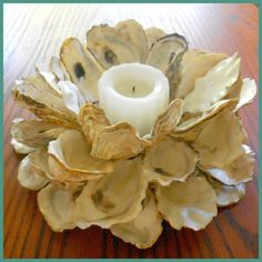 Oyster Shell Candle Holder Wreath w/ pillar candle and glass vase, gift idea, centerpiece, wedding centerpiece