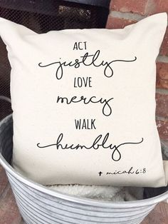 Micah 6:8 Pillow Cover Bible Verse Pillow Rustic by MaywindMarket (diff. sizes)