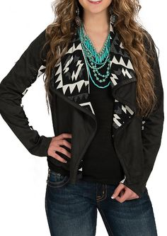 Karlie Black Washed Suede Cardigan with Aztec Lining