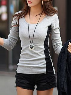 Korean Style Round Neck Assorted Color Long-sleeve-t-shirt | fashionmia.com