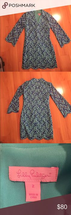 Size 2 Lilly Pulitzer lace dress Light and dark blue scalloped lace dress never worn and in perfect condition Lilly Pulitzer Dresses Mini