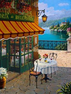 Bellagio, Italy on Lake Como...Bellagio Cafe, Clooney's home