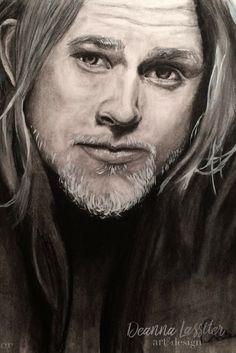 Charlie Hunnam charcoal portrait
