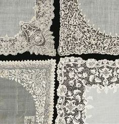 A collection of handkerchiefs including a fine Pina cloth drawn threadwork handkerchief; a Point de Gaze trimmed handkerchief, a Youghal trimmed handkerchief and a Honiton trimmed handkerchief(a lot)See Illustration