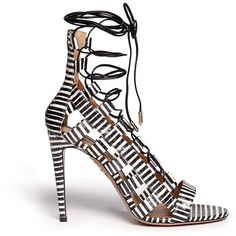 Aquazzura 'Amazon' stripe python leather caged sandals (€950) ❤ liked on Polyvore featuring shoes, sandals, leather shoes, caged shoes, snake print sandals, aquazzura shoes and snakeskin sandals