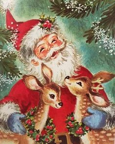 Vintage Christmas Images, Funny Christmas Cards, Old Fashioned Christmas, Christmas Scenes, Christmas Deer, Victorian Christmas, Retro Christmas, Vintage Holiday, Christmas Pictures