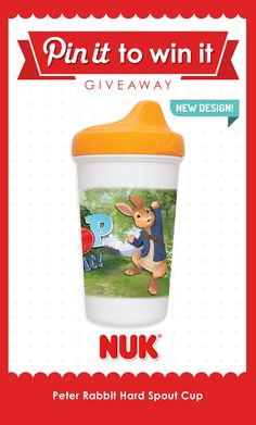 Bring Peter Rabbit to life with this hard spout #cup! #NUK #sippycup #babyregistry #babyshower #BPAfree