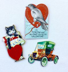 Vintage Valentine's Day Cards Cat Crow Car by GardenBarn on Etsy