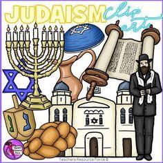 Judaism / Hanukkah / Chanukah clip art ideal for your religious education resources! Includes: Challah bread, Dreidel, Kippah, Monorah, Oil Pitcher, Rabbi, Star of David, Synagogue, Torah. /resourceforce/