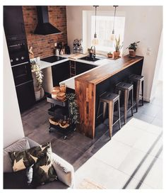 Loft Kitchen, Kitchen Room Design, Home Decor Kitchen, Interior Design Kitchen, New Kitchen, Home Kitchens, Kitchen Decorations, Farmhouse Kitchens, Industrial Kitchen Design