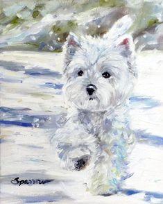 PRINT Westie West Highland Terrier Dogs Puppy Snow Art Oil Painting / Mary Sparrow of Hanging the Moon Studio West Highland Terrier, Highlands Terrier, Terriers, Terrier Dogs, Terrier Mix, Fun Photo, Miniature Schnauzer Puppies, Schnauzer Puppy, Snow Art