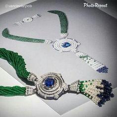 """By @vancleefarpels """"Find exclusive content about this transformable masterpiece - Miroir enchanté necklace - on http://atelierscreations-vancleefarpels.tumblr.com/ #HighJewelry #VCApeaudane"""" via @PhotoRepost_app"""